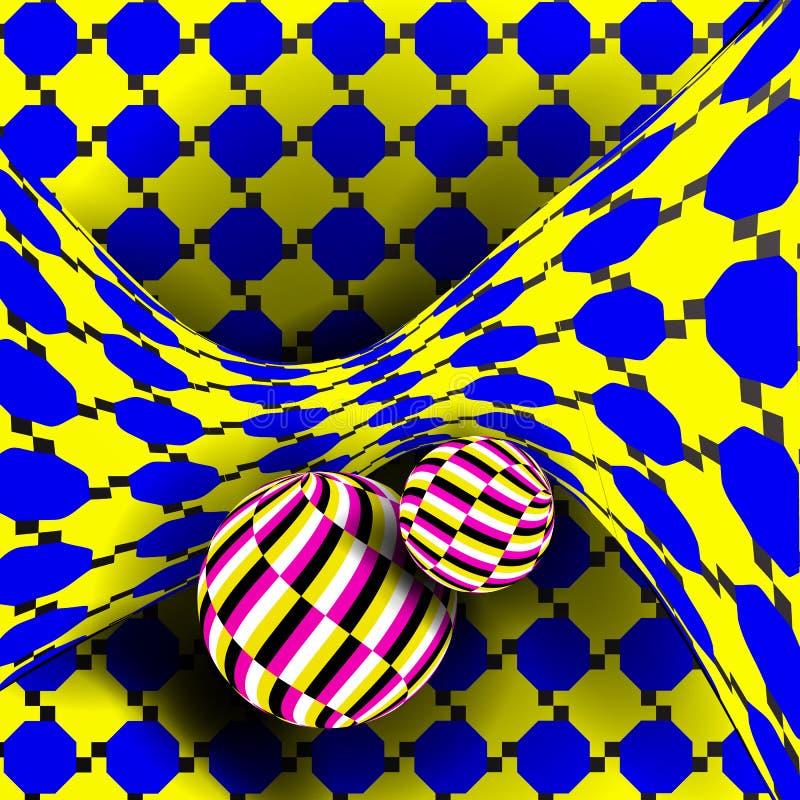 Vettore di illusione Arte ottica 3d Effetto ottico dinamico di rotazione Illusione di turbinio Delirio, senza fine, errore geomet illustrazione di stock