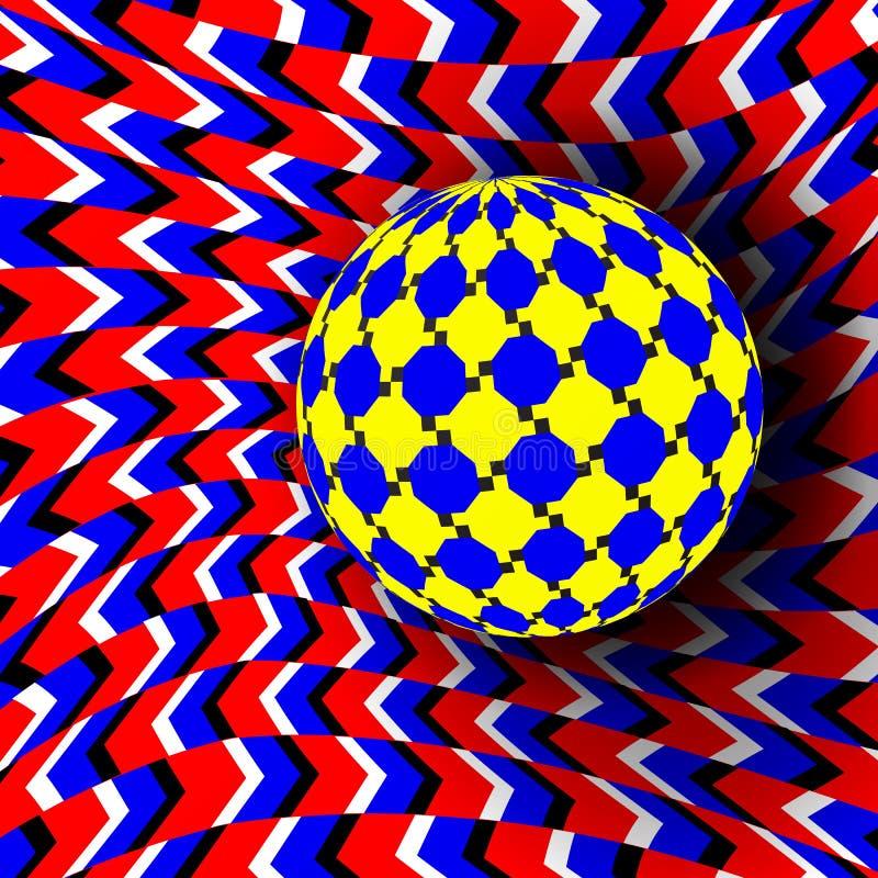 Vettore di illusione Arte ottica 3d Effetto ottico dinamico di rotazione Illusione di turbinio Movimento eseguito nella forma royalty illustrazione gratis