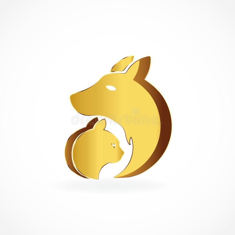 Vettore di immagine di logo dell'icona dell'oro del gatto e del cane illustrazione vettoriale