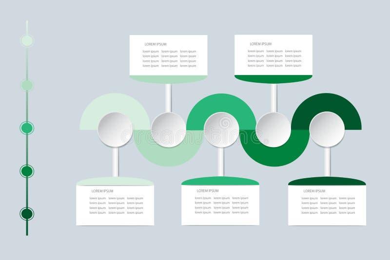 Vettore di Infographic come onde ondulate in ombre di colore verde royalty illustrazione gratis