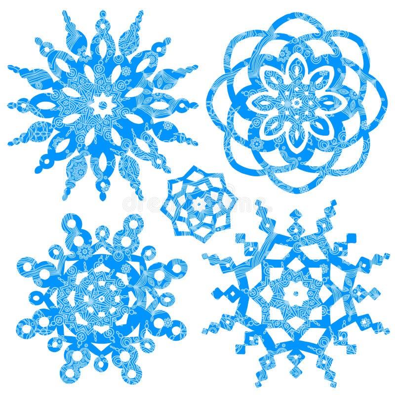 Vettore di inverno fissato con i fiocchi di neve illustrazione di stock