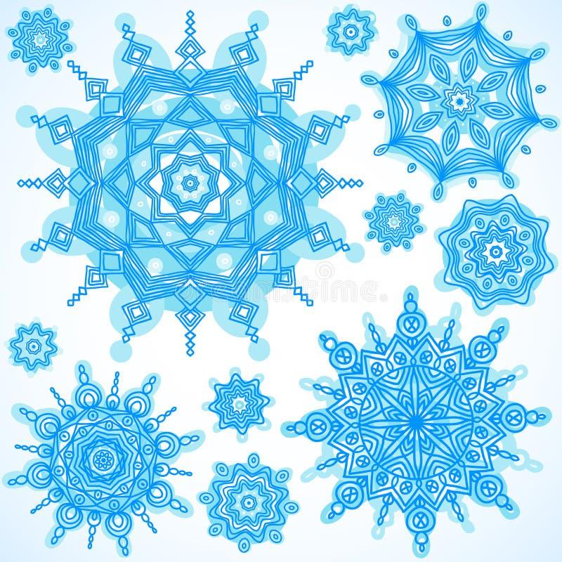 Vettore di inverno fissato con i fiocchi di neve illustrazione vettoriale