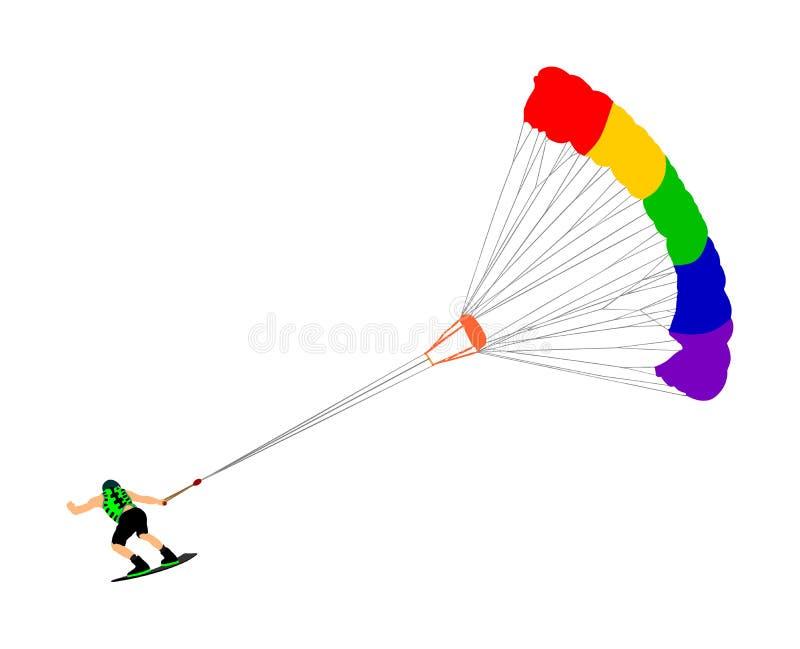 Vettore di kiteboard di guida dell'uomo Sport acquatico estremo che kiteboarding con il paracadute Surfista dell'aquilone sulle o illustrazione di stock