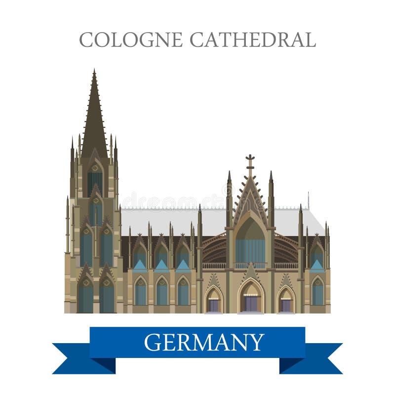 Vettore di Kolner Dom Rhine Westphalia Germany della cattedrale di Colonia royalty illustrazione gratis
