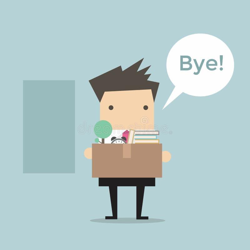 Vettore di Leaving Job dell'uomo d'affari illustrazione vettoriale