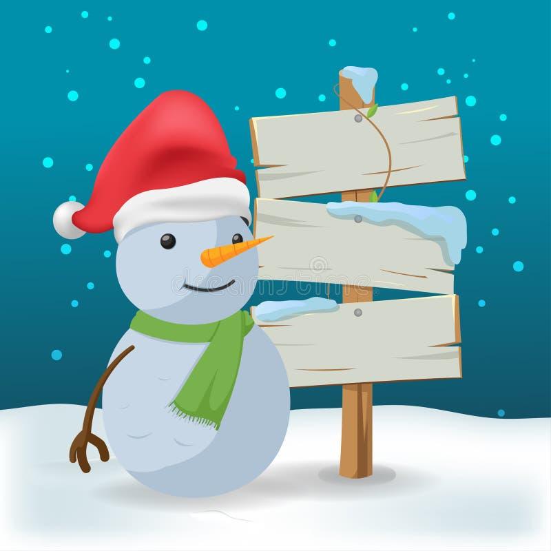 Vettore di legno all'aperto del fumetto del segno del pupazzo di neve illustrazione di stock