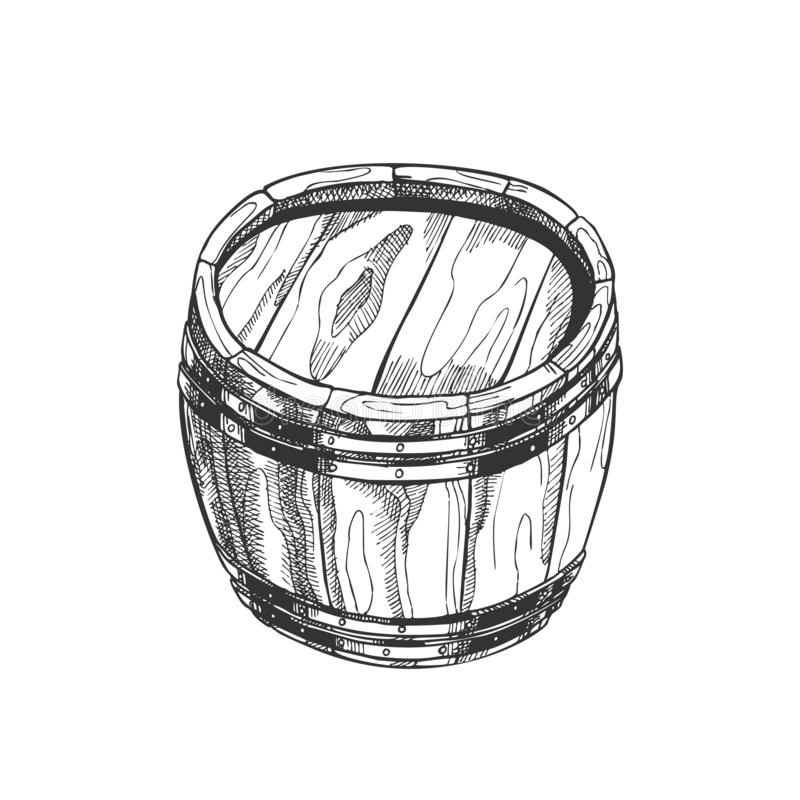 Vettore di legno d'annata diritto disegnato a mano del barilotto royalty illustrazione gratis