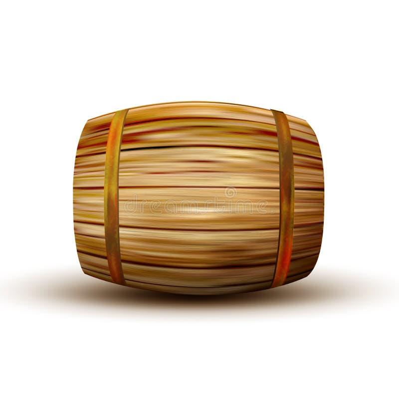 Vettore di legno d'annata di menzogne di vista laterale del barilotto di Brown illustrazione vettoriale