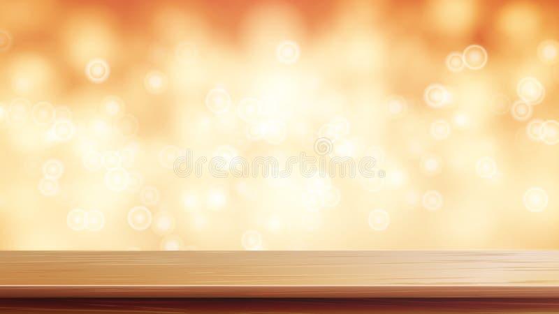 Vettore di legno del piano d'appoggio Fondo dell'estratto di Brown Bokeh Chiuda sulla Tabella di legno superiore Fondo caldo vago illustrazione di stock