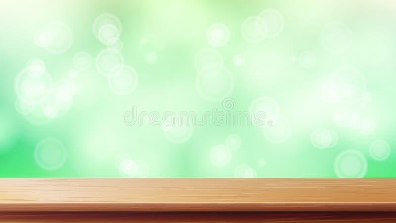 Vettore di legno del piano d'appoggio Fondo di verde della primavera della sfuocatura Tabella di legno liscia vuota della piattaf illustrazione di stock