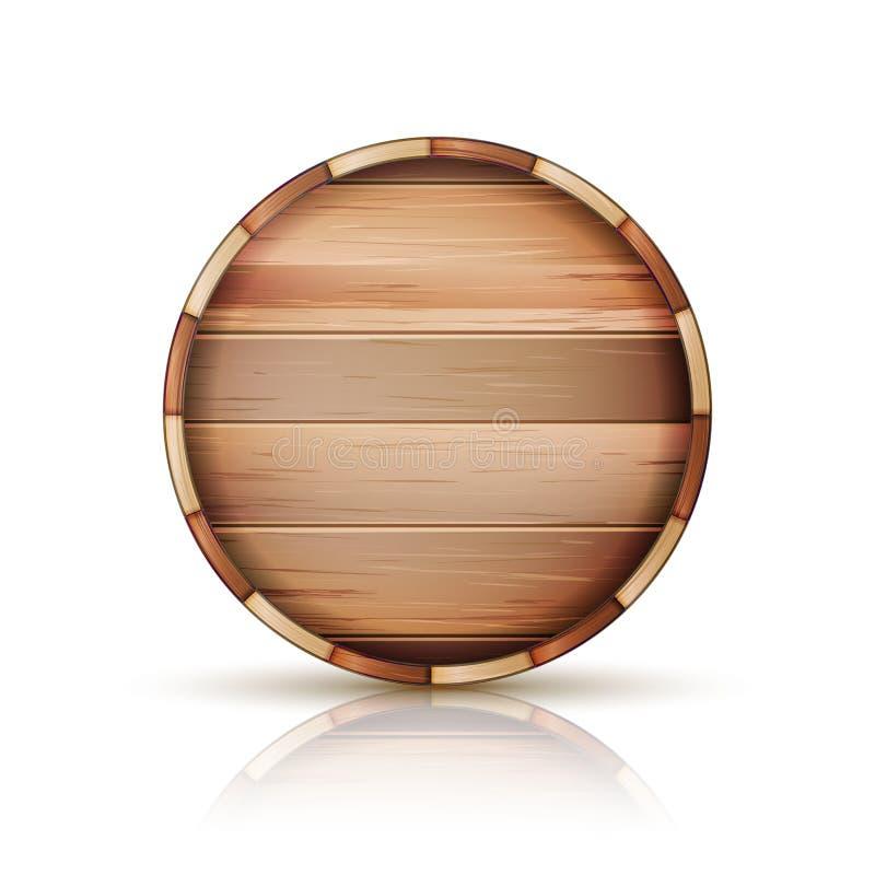 Vettore di legno del segno del barilotto insieme dell'icona 3d isolato su fondo bianco illustrazione vettoriale