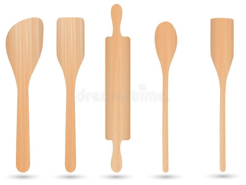 Vettore di legno dell'articolo da cucina, di legno del cucchiaio, di legno del coltello e di legno della forcella illustrazione di stock