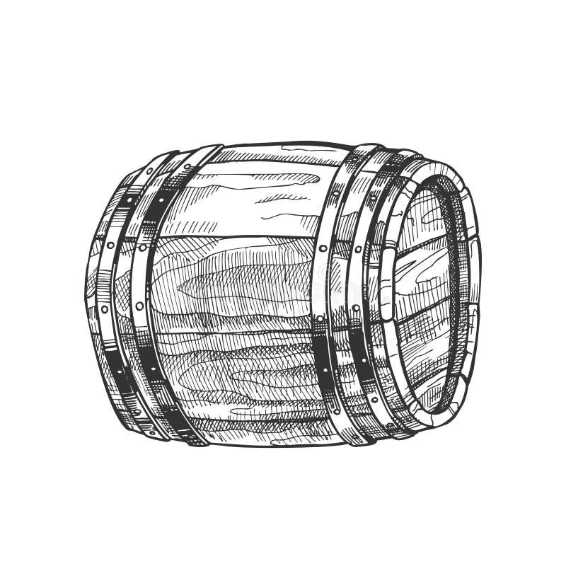 Vettore di legno di menzogne tirato di vista laterale del barilotto dell'annata illustrazione di stock