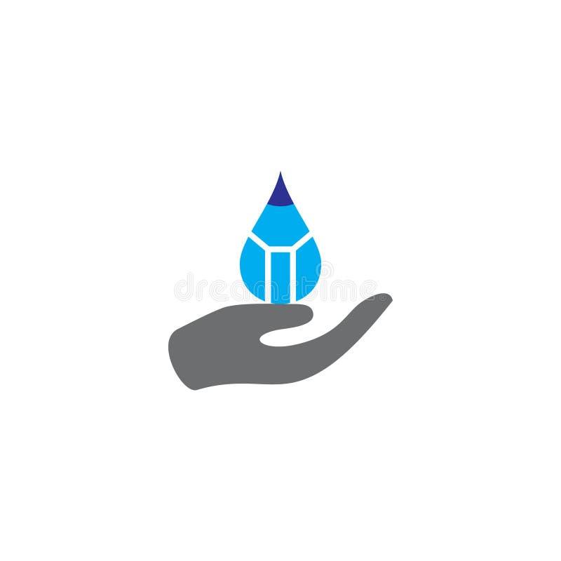 Vettore di logo di cura della mano dell'acqua di goccia della matita illustrazione vettoriale