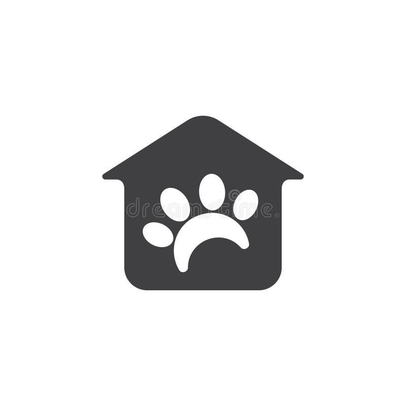 Vettore di logo del negozio di animali della zampa dell'animale domestico e della casa illustrazione di stock