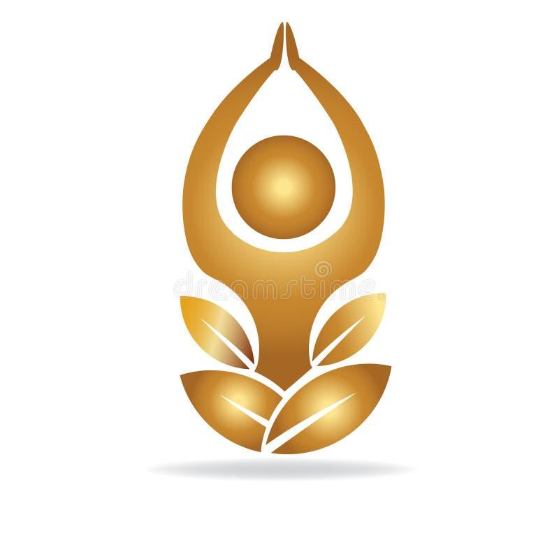 Vettore di logo dell'uomo di yoga del loto dell'oro illustrazione di stock