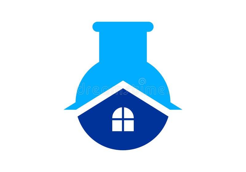 Vettore di logo della casa del laboratorio di scienza illustrazione vettoriale