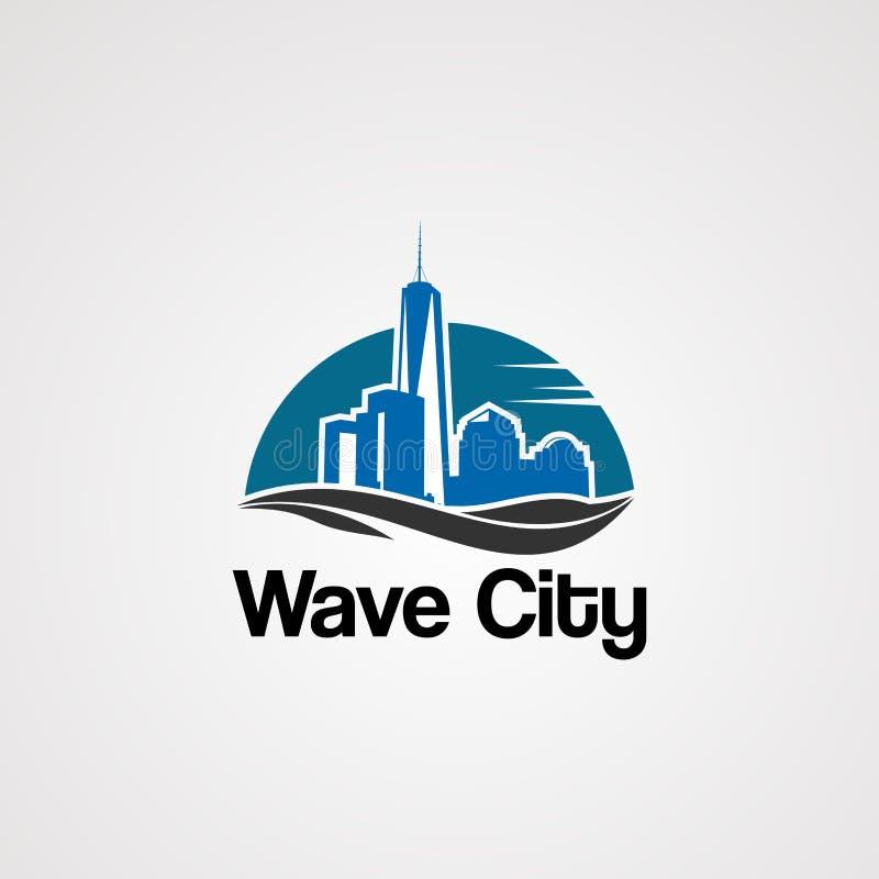 Vettore di logo della città di Wave con orizzonte sul concetto, sull'elemento, sull'icona e sul modello del sole per la società illustrazione di stock