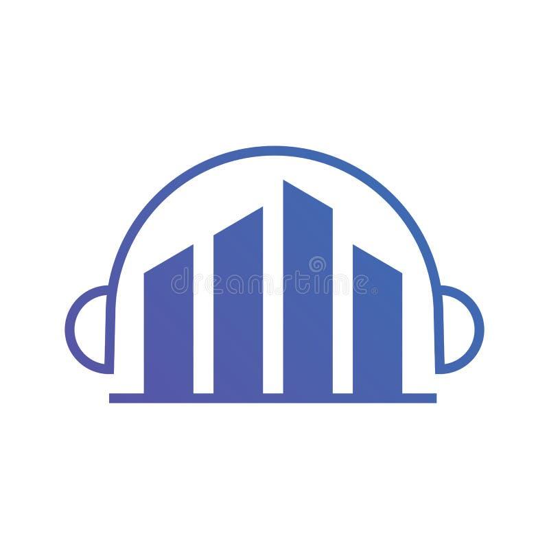 Vettore di logo della cuffia di musica della città illustrazione vettoriale