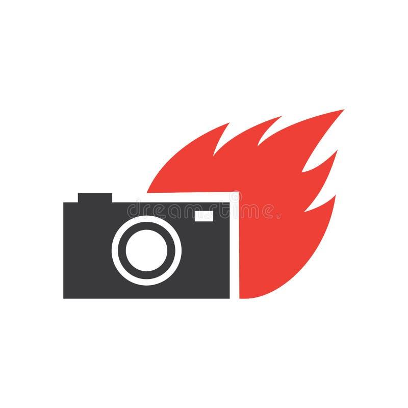 Vettore di logo della macchina fotografica della fiamma illustrazione vettoriale