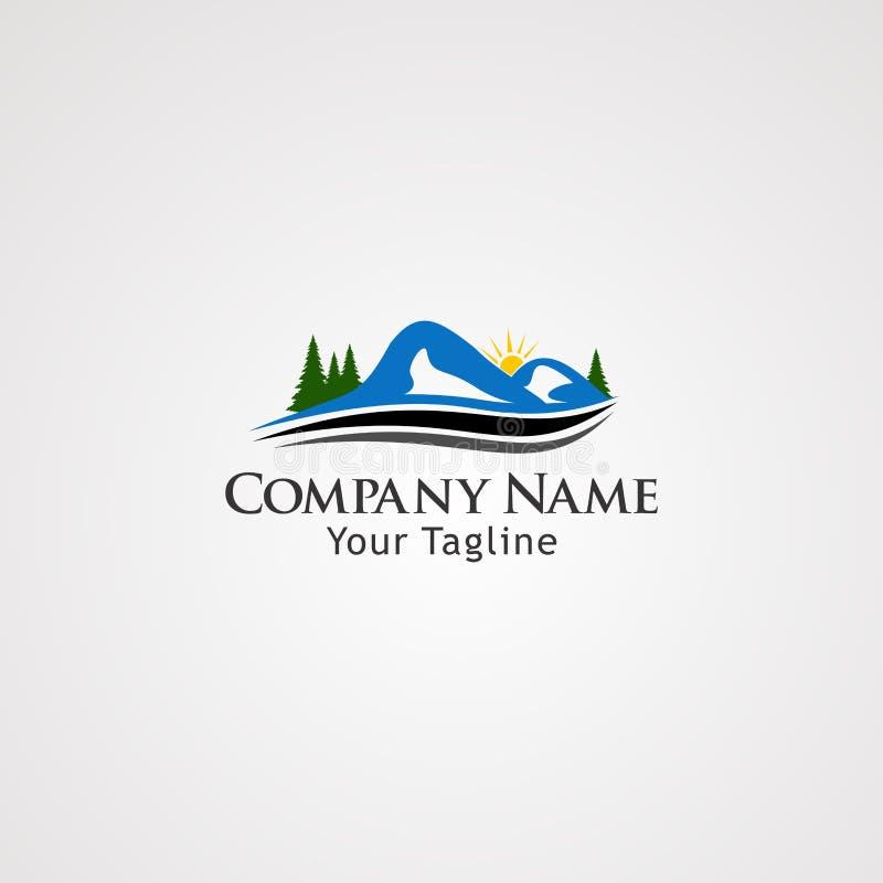 Vettore di logo della montagna con la via, l'icona, l'elemento ed il modello dell'onda per l'affare royalty illustrazione gratis
