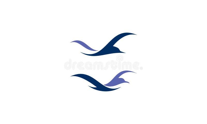 Vettore di logo della spiaggia dell'uccello illustrazione di stock