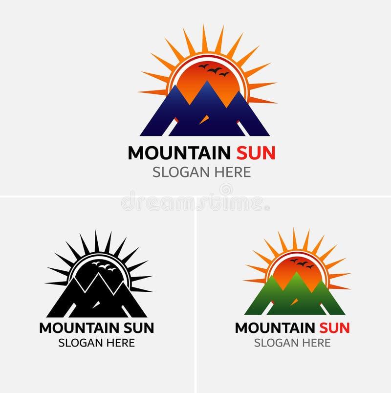 Vettore di logo delle montagne con le icone del sole royalty illustrazione gratis
