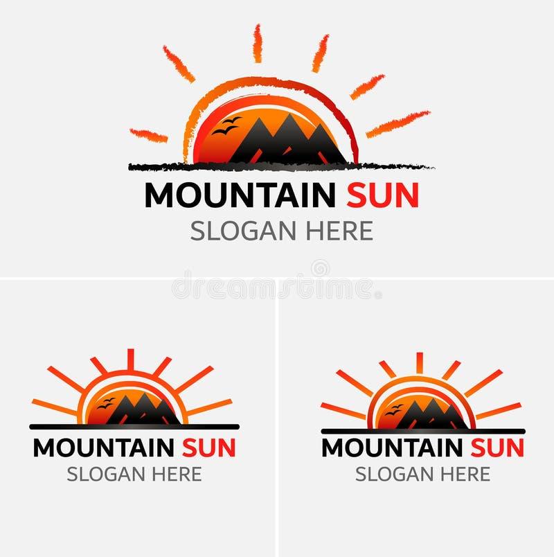 Vettore di logo delle montagne di lerciume con le icone del sole illustrazione di stock