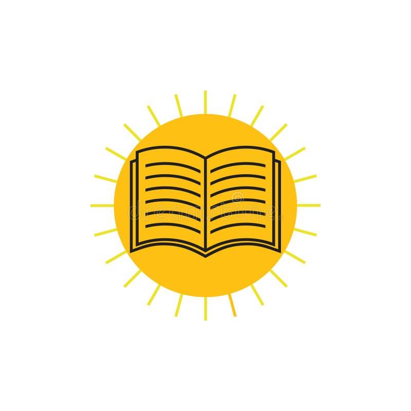 Vettore di logo di istruzione del sole di lustro del libro illustrazione di stock