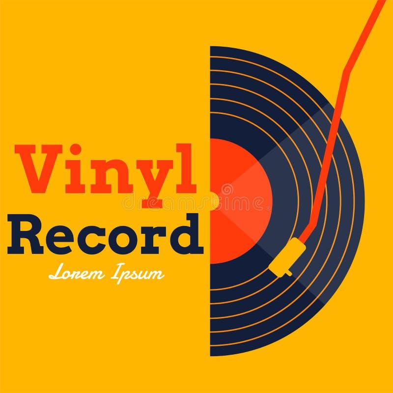 Vettore di musica del disco di vinile con il grafico giallo del fondo illustrazione vettoriale