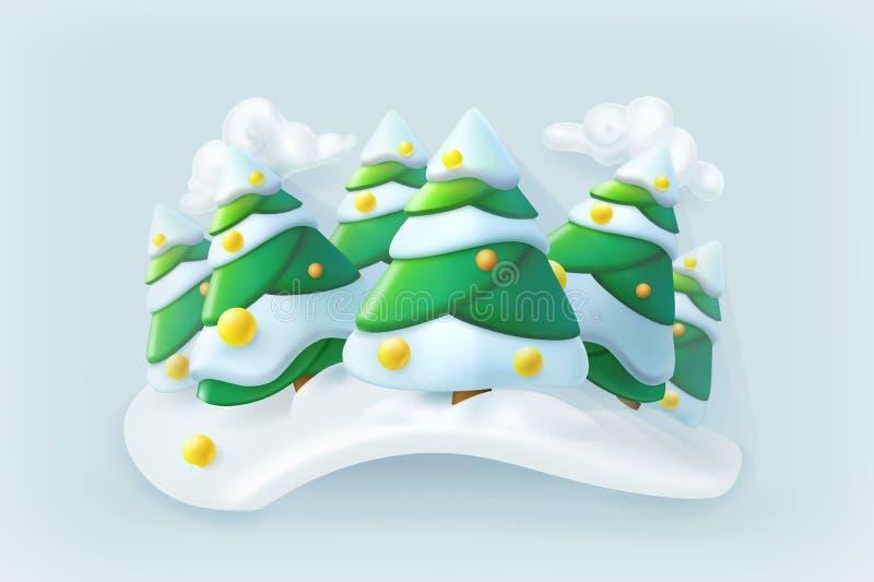 Vettore di Natale della foresta di inverno illustrazione di stock