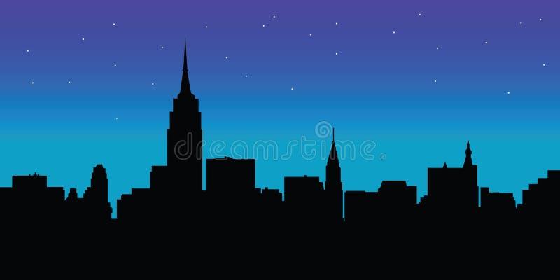 Vettore di New York dell'orizzonte di notte illustrazione di stock