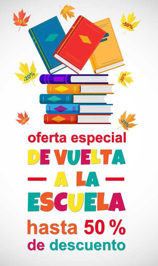 Vettore di nuovo al manifesto di vendita della scuola nella lingua spagnola su bianco illustrazione di stock