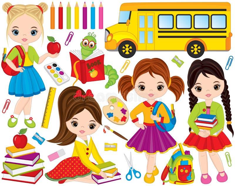 Vettore di nuovo alla scuola messa con le bambine, il topo di biblioteca e la cancelleria svegli della scuola illustrazione di stock