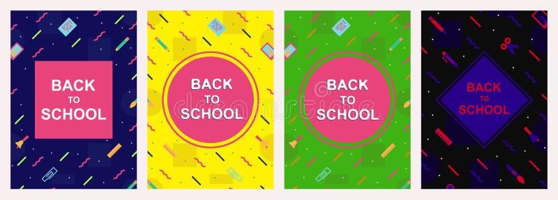 Vettore di nuovo a stile variopinto stabilito di Memphis del modello di progettazione della copertura della scuola illustrazione di stock