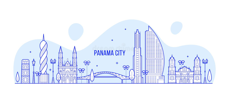 Vettore di Panama City della Repubblica dell'orizzonte di Panamá royalty illustrazione gratis
