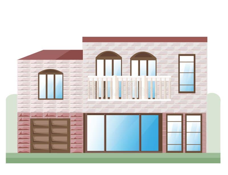 Vettore di pietra rosso della facciata della casa Illustrazione dettagliata di vista frontale della costruzione di architettura illustrazione di stock