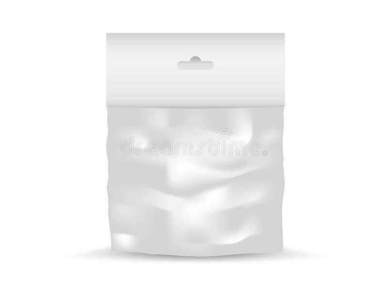 Vettore di plastica in bianco bianco della borsa della tasca, progettazione di pacchetto, 3d, progettazione, realistica illustrazione di stock
