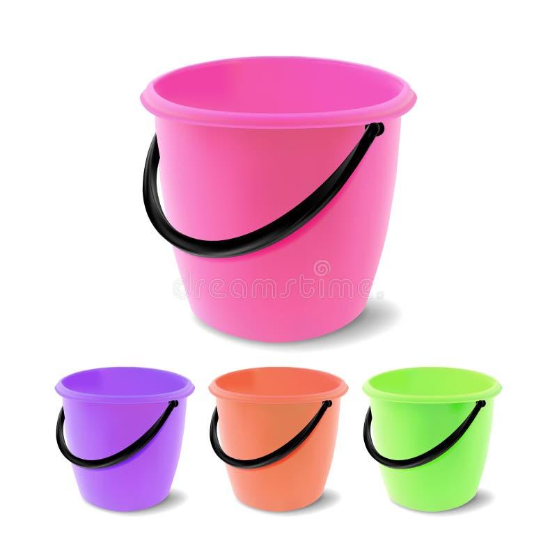 Vettore di plastica del secchio Colori differenti di secchiata Barattolo classico con la maniglia, vuota Giardino, famiglia, mobi illustrazione di stock