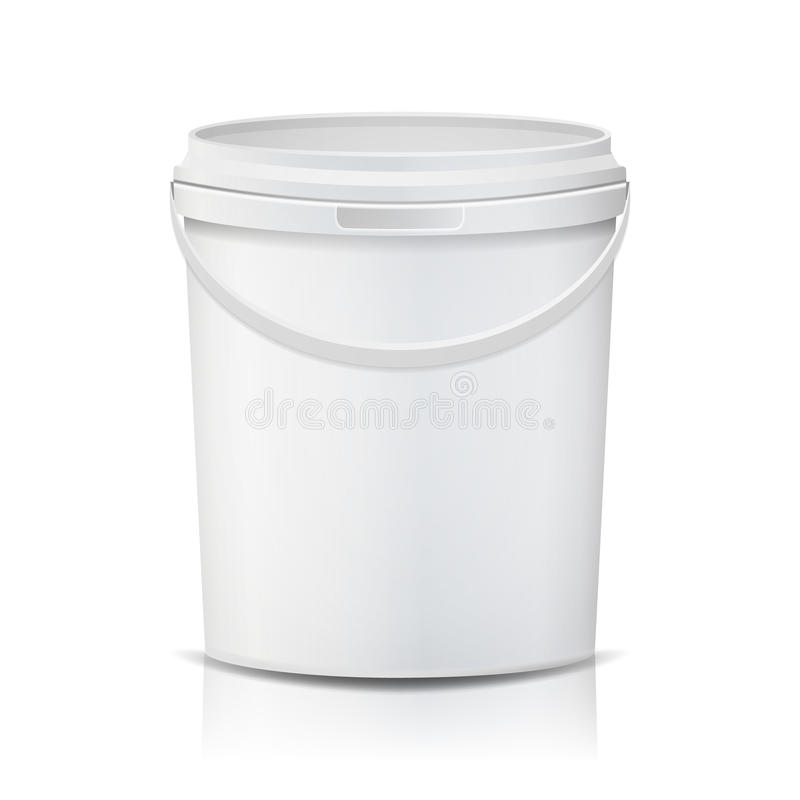 Vettore di plastica del secchio realistico Bianco svuoti Contenitore per pittura o alimento Isolato sull'illustrazione bianca royalty illustrazione gratis