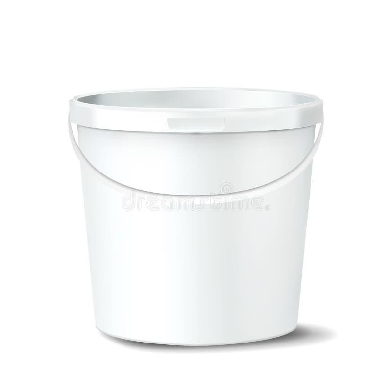 Vettore di plastica del secchio Spazio in bianco vuoto bianco di Claen Barattolo classico con la maniglia per pittura contenitore illustrazione vettoriale