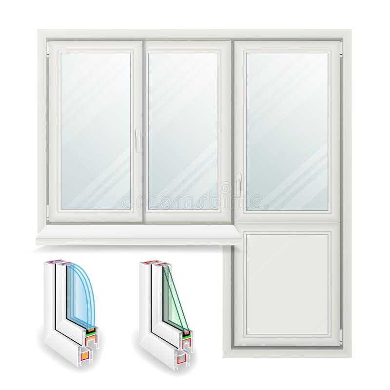 Vettore di plastica della finestra Portello aperto Concetto di progetto bianco domestico della finestra Isolato sull'illustrazion illustrazione di stock