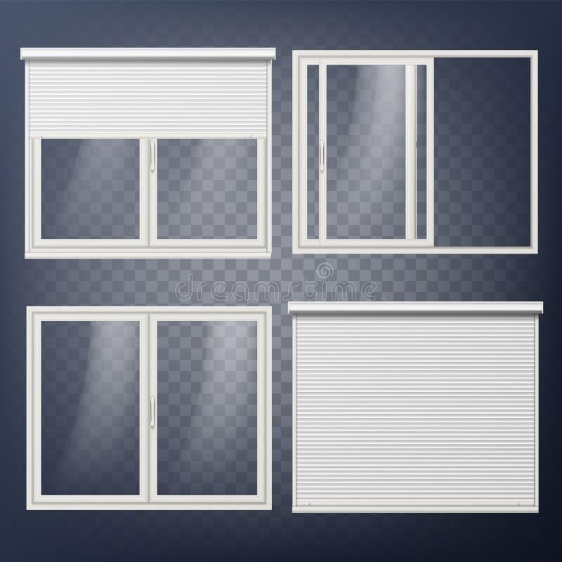 Vettore di plastica della porta sliding Otturatore bianco del rullo Aperto e chiuso Economizzatore d'energia Profilo del PVC isol royalty illustrazione gratis