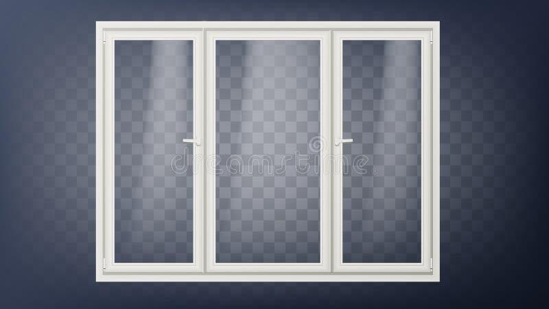 Vettore di plastica della porta Porta di vetro chiusa del deposito Economizzatore d'energia Ostello, deposito, elemento dell'uffi illustrazione di stock