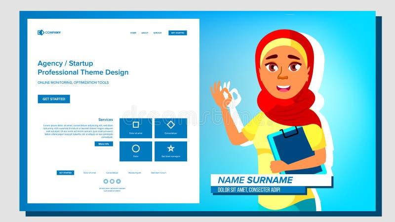 Vettore di presentazione di auto Femmina araba Introduca o il vostro progetto, affare Illustrazione royalty illustrazione gratis