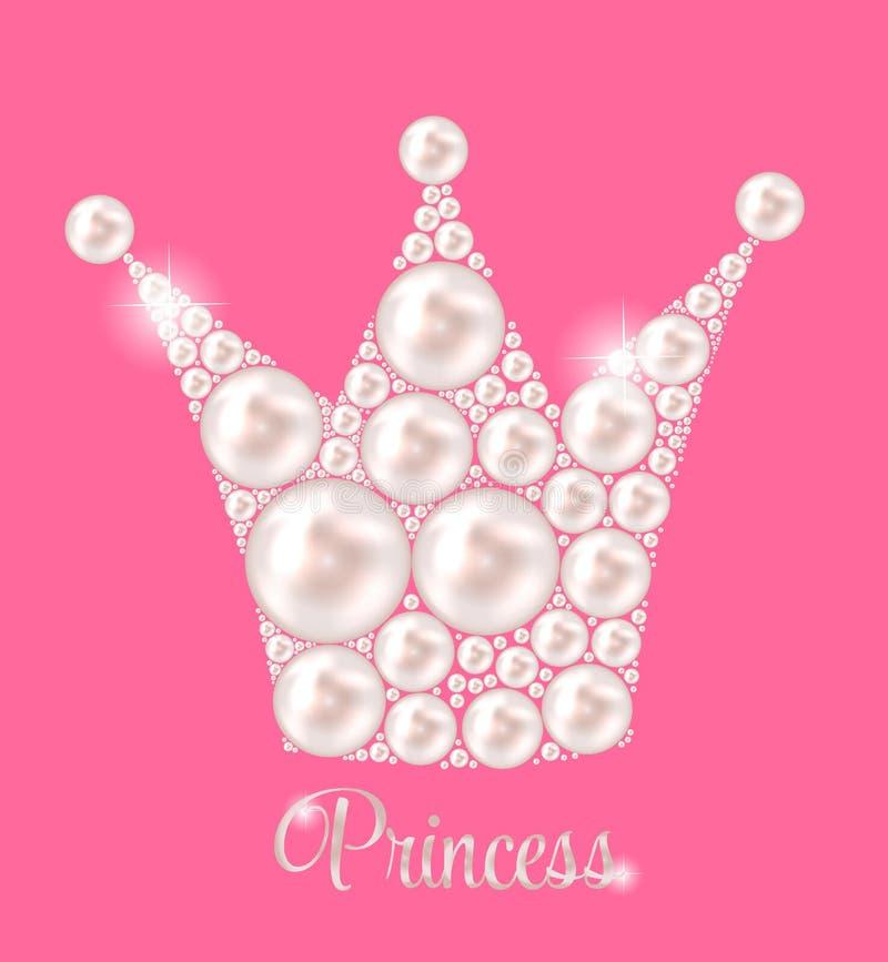 Vettore di principessa Crown Pearl Background illustrazione di stock