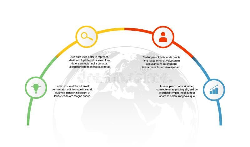 Vettore di processo aziendale infographic con le parti variopinte, le icone e la mappa di mondo nei precedenti illustrazione vettoriale