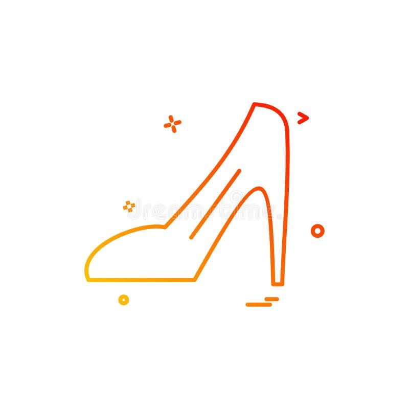 Vettore di progettazione dell'icona del sandalo delle signore illustrazione di stock
