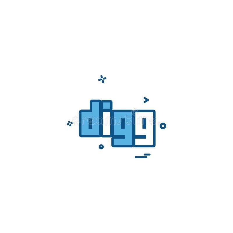 Vettore di progettazione dell'icona di Digg illustrazione di stock