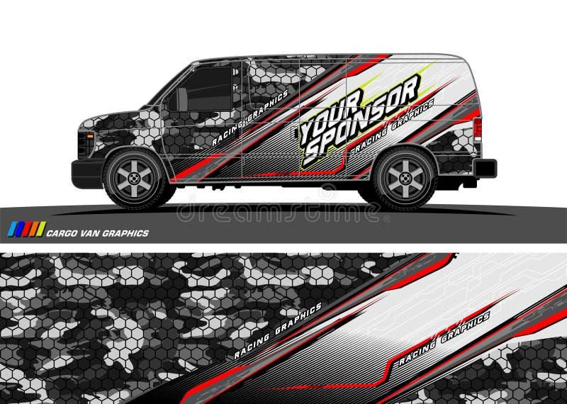 Vettore di progettazione della decalcomania dell'automobile fondo astratto per l'involucro del vinile del veicolo illustrazione vettoriale
